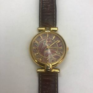 Vintage Fossil Watch Gold 12 Sided Crystal